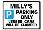 MILLY'S Personalised Parking Sign Gift | Unique Car Present for Her |  Size Large - Metal faced